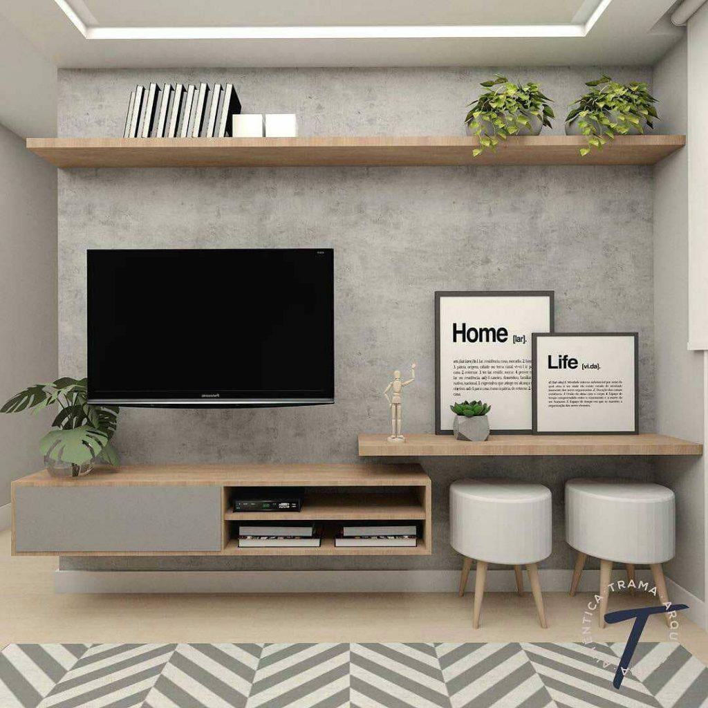Desain Interior Ruang TV Minimalis Nuansa Abu-Abu yang Cozy dan