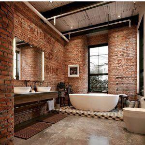 desain interior kamar mandi modern dengan dinding batu